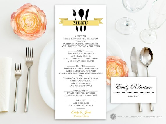 Printable Gold Menu + Free Place Card Template Self Print Instant Download    Wedding / Reception / Anniversary / Rehearsal EDITABLE PDF  Free Menu Templates Printable