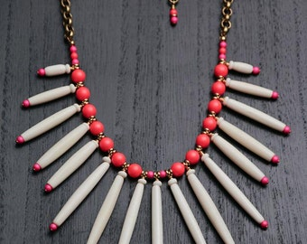 Tribe Neon and Bone Necklace - White