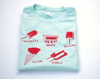 Women's Ice Cream Tshirt, Popsicle/ Helado/ Paleta Tee