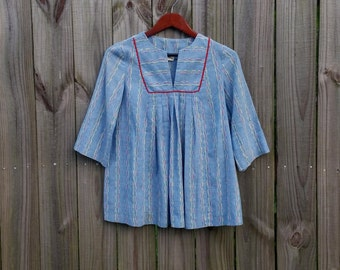 S Small Vintage 70s Lexis Ltd. Colorful Embroidered Chambray Hippie Festival Funky Groovy Trippy Hipster Indie Trapeze Shirt Blouse Top