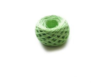 Linen yarn, linen thread, natural linen, natural 3ply yarn, linen lime green yarn