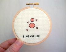 Cross stitch microbe -- Bartonella henselae cross stitch, medical or science stitchery, Cat scratch fever