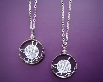 Papercut Knit or Crochet Necklace- Original Handcut Paper in Glass Pendants with Silver Chain