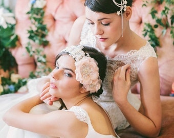 Crystal Vines with Flowers Hair Comb, Crystal and Flower Bridal Hairpiece with Crystal Chains#106HC
