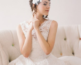 Tulle Birdcage Veil with Lace, Tulle Bandeau Veil with Beaded Lace #712V