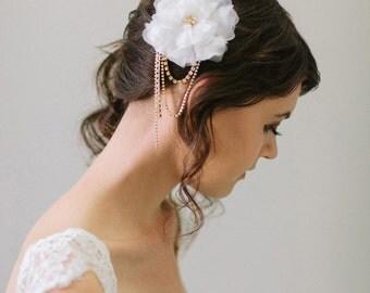 Silk Flower and Swarovski crystal Hair Comb, Handmade Silk Flower with Crystal Dangles #101HC