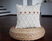 Knitted ivory pillow - set of 2 - cable knit pillow cover - 20x20 inch