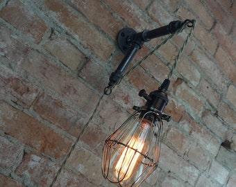 Industrial Wall Sconce - Caged Bulb - Pendant Edison - Industrial Furniture - Wall Light