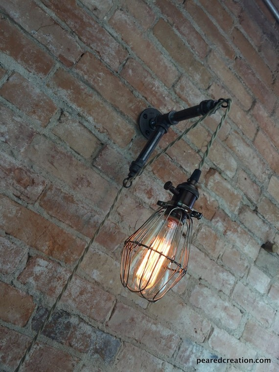 Industrial Pendant Wall Lights : Industrial Wall Sconce Caged Bulb Pendant Edison
