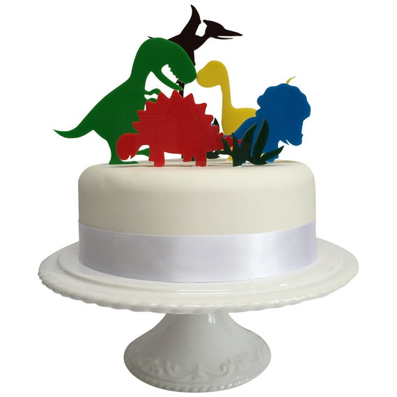 Dinosaur Cake Decorations Uk : Birthday Dinosaur Cake Topper Set UK MADE Worldwide by ...