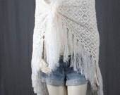 White Shawl piano shawl lace crochet scarf white tassle fringe bohemian gypsy boho women OSFA