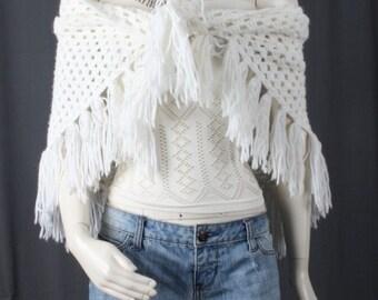 White crochet shawl lace shawl fringe shawl white tassle fringe bohemian gypsy boho women OSFA