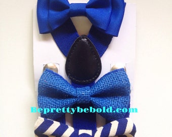 Royal Blue Bow tie suspenders Baby bowtie Horizon Boy Bow ties Toddler Necktie Royal Blue Mens bowties Groom Wedding Ring Bearer Outfit Blue