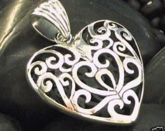 Big Bold Open Cage Design Heart Pendant in Sterling Silver .925