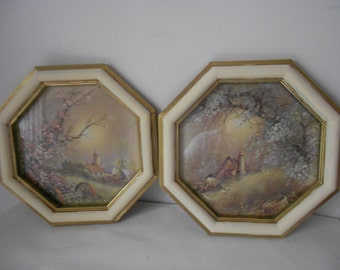 Set of octagon  shabby chic gold and cream framed  Homco pictures country scene