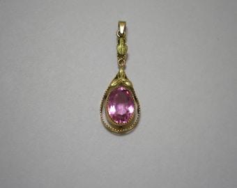 Vintage 10 kt Gold Pink Topaz Dangle Pendant