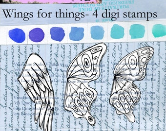 Wings for things - set of four digi stamp wings