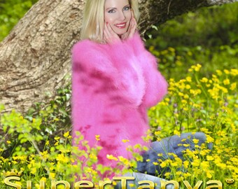 Hand knitted mohair sweater in neon pink, fine knitted with 1 strand mohair fuzzy top by SuperTanya