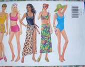 Butterick Misses' Swimsuit And Cover-Up Pattern 5551 - Size 12-14-16