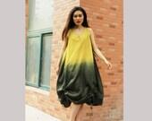 linen maxi dress cotton maxi dress long dress irregular dress in color yellow