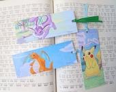 pokemon bookmark set of 3 - pikachu vaporeon dragonite - fanart illustration - geek