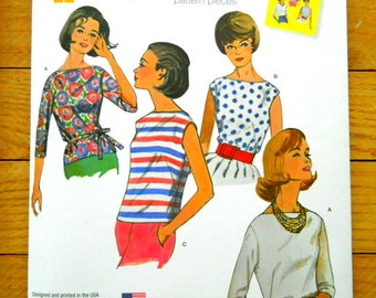 Sewing pattern for 1960s Jiffy tops and tie belt, Simplicity 1364 reproduction of a vintage pattern, women's boat-neck tops