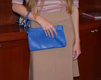 Vintage Wristlet, Women's Royal Blue Wristlet, Leather Purse, Small Clutch, Blue Handbag, Handmade Leather Clutch, Royal Blue Purse
