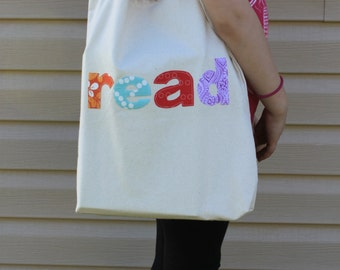 Handmade Canvas Library Book Reading Tote Shoulder Bag Applique Letters