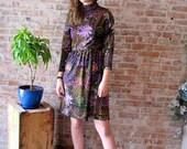 60s Vintage Dress - Lord & Taylor - Colorful - Vibrant Print - High Neck - Long Sleeves - Velvet - Floral Print
