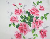 Wilendur Tablecloth - Free Shipping - Vintage Tablecloth with Roses  - Vintage Linens for Sale - Glamping  Glamper - 6ITT15