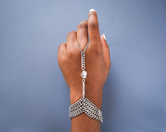 Oxidized Silver Slave Bracelet with Quartz