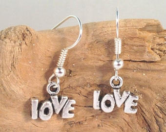 LOVE Sign EARRINGS Tibetan Style Silver Tone Charms on Nickelfree Hooks