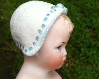 9 Inch All-Bisque Heubach Bonnet Grumpy Doll Reproduction