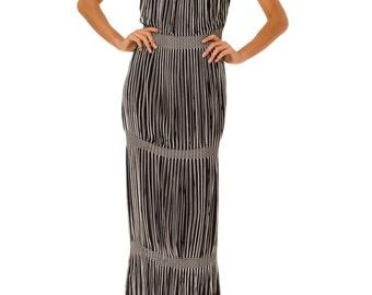 1970s Vintage Fantastic Black and White Fringe Dress   Size: S/M