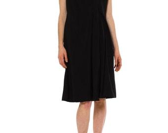 1980s Vintage PAULINE TRIGERE Minimal Black Silk Dress   Size: S/M