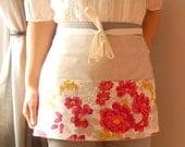 Modern rose Joel Dewberry half apron - gardeners apron, craft apron, bistro apron