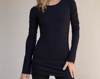 Long Sleeve Tunic | Long Yoga Tank - Yoga Clothes Bamboo Shirt (Size M)