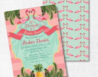 FLAMINGO PINEAPPLE PALM shower invitation, luau invitation, tropical, Hawaiian, invite, baby shower, birthday invitation, lets flamingle