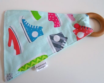 Crinkle Teething Toy with Wooden Ring, Minky, Shoes, Sneakers, Hipster