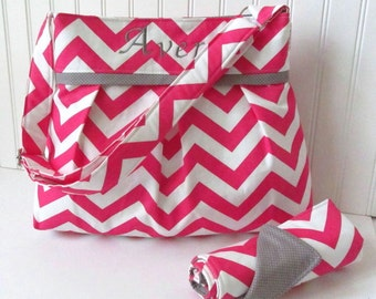 Personalized Hot Pink Chevron Diaper Bag Set with Changing Pad Nappy Monogram Design Your Own