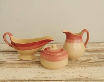 Incaware Pottery Serving Set Pink Creamer Sugar Bowl Gravy Boat