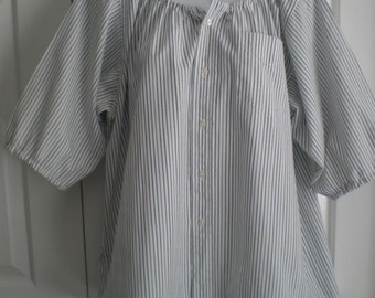 Peasant Blouse upcycled from a men's shirt 54 inch chest, white with green and lavender stripes, elbow length sleeves, ladies X large