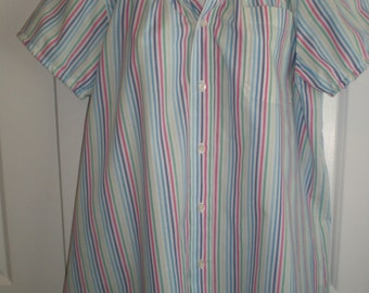 Peasant Blouse upcycled from a men's shirt, 52 inch, Large, candy stripe