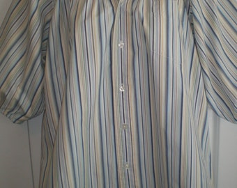 Peasant Blouse upcycled from a men's shirt, 54 inch, Large, blue multi stripe