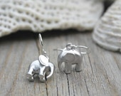 Little girl earrings - Adorable silver Elephant earrings, lucky elephant, good luck charm, 925 sterling silver ear wires, child earrings