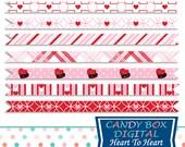 Valentine Borders, Heart Borders, Valentine Digital Border, Valentine Ribbon, Heart Digital Borders, Valentine Ribbons - Commercial Use OK