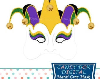 Mardi Gras Jester Mask Clip Art, Masquerade Clip Art - Commercial Use OK