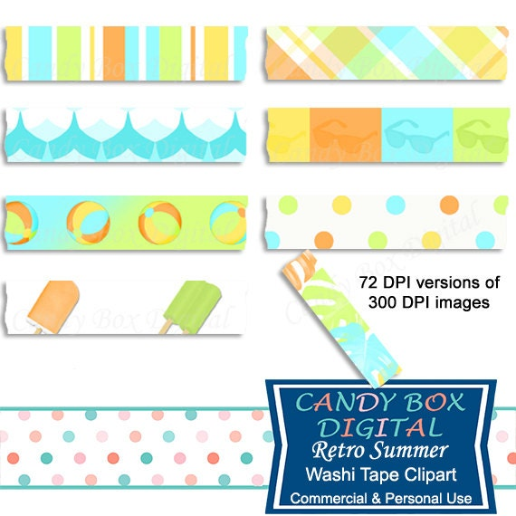 Retro Beach Vacation Washi Tape Clipart Summer Washi Clip Art