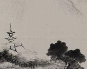Japanese Fine Art Painting Wall Hanging Scroll Inkwash Landscape Kakejiku – 1412115