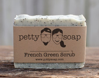 French Green Scrub - All Natural Soap, Vegan Soap, Cold Process Soap, Unscented Soap